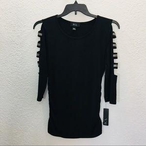 BCX Juniors Ladder Sleeve Blouse Size Large Black